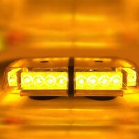 24W 12V Amber LED Vehicle Roof Lightbar Flashing Beacon Strobe Light Magnetic
