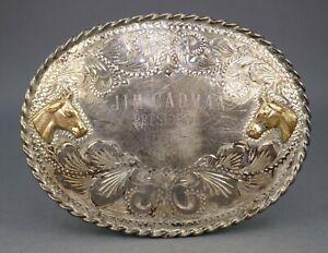 Vintage Sterling Silver 10k Gold Fritch Bros Western Trophy Horse Belt Buckle