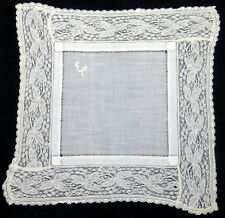 "Vintage 11"" Embroidered Monogram E Lace Edged Handkerchief"
