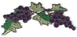 """1 1/2 """" x 4 1/4 """" Violet Raisin Vigne Bouquet Raisins Broderie Patch"""