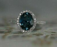 2.00CT Oval Cut London Blue Topaz 14k White Gold Over Halo Diamond Wedding Ring