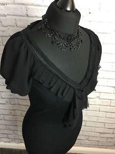 Coast Size 10 Black Womens Chiffon & Jersey Short Puffy Sleeve V NeckLine Top