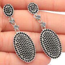 Romantic Long London Blue Topaz Black Sapphire Daily Wear Silver Earrings