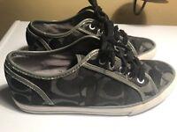 Coach DEE Black/Gray Monogram C Fabric Sneakers Women's Shoes Sz 7B