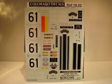 DECALS 1/16 ALPINE 1300/1600 #61 LM 1968 + version route  - COLORADO  1602