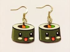 Kawaii Sushi Roll Food Fun Humor Cooking  Earrings Handmade Plastic Charms
