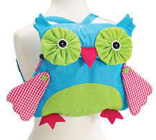 Merry Medley owl backpack with pull string closure and felt lined inside.