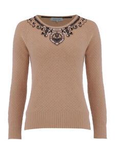 Dickins & Jones Beige Embellished Knitted Wool Mix Jumper S M L XL RRP £85  NEW