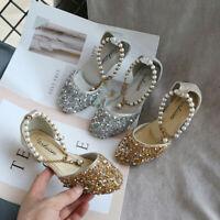 Fashion Toddler Children Kids Girls Pearl Sequins Single Princess Dance Shoes