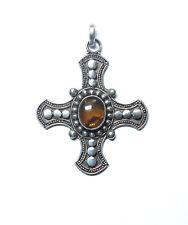 Sterling Silver & Amber Celtic Cross Pendant, 4.2cm