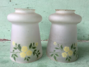2 Matching Antique Frosted Glass Lamp Shades