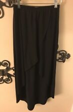 S Lily White Black Hi Lo Skirt w/ Elastic Waist