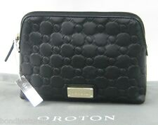NEW OROTON SMALL ROCHE BLACK LEATHER ZIP BEAUTY CASE TRAVEL MAKE-UP BAG RRP$145