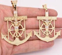 Men's Diamond Cut Jesus Crucifix Jesus Anchor Pendant Real 10K Yellow White Gold