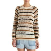 $530 Etoile Isabel Marant Striped Red Navy Cream Crochet Sweater Blouse Top XS