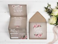 Rustic Wedding invitation - Grey Rose Double-Folded (Portrait)