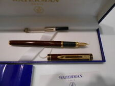 WATERMAN EXCLUSIVE COGNAC  & GOLD TRIM FOUNTAIN PEN 18K GOLD  FINE PT NEW IN BOX
