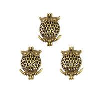 Antiqued Bronze Tone Alloy Owl Hollow Locket Oil Diffuser Pendants Jewelry 3pcs