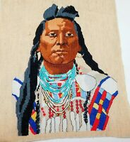 Finished Native American Crow Plenty Coups Beaded Cross Stitch piece