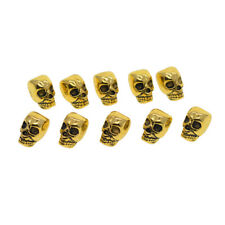 10pcs Antique Gold Large Hole 3D Skull Spacer Loose Beads for Jewelry Making