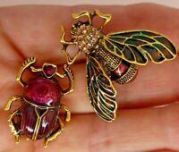 Beetle bee brooch pair green purple enamel rhinestone vintage style in gift box