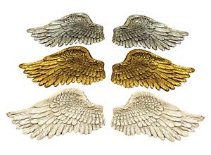 Angel Wings Ornament Pair Vintage Shabby Cherub Wall Art Fair Garden Decoration