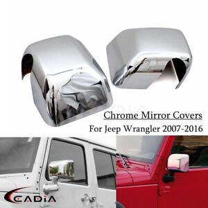 FOR 2007-2016 2015 JEEP WRANGLER CHROME ABS PLASTIC SIDE MIRROR COVERS CAP 2PCS