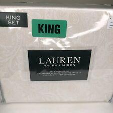 Ralph Lauren King Extra Deep 4 Pc. Sheet Set White Light Tan Cream White Paisley