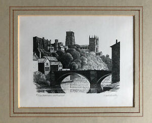 """CLAIRE DALBY R.E. b1944 Limited Edition WOOD ENGRAVING """"Durham Cathedral"""" 30/120"""