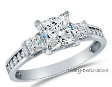 Real 14k White Gold Princess Cut Three-stone Ring 2.45 CT Anniversary Engagement