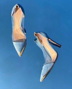 Gianvito Rossi Light Denim Plexi PVC Clear Pointed Toe Heels ss 38/US 7.5 $775