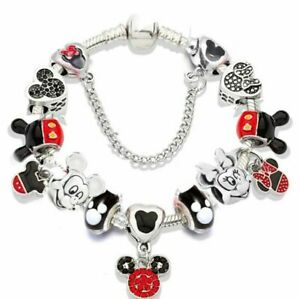 Mickey Minnie Mouse Love Heart Palace Silver Red Charm Bracelet Valentine Gift