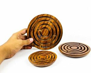 """Wooden Labyrinth Ball in Maze Set of 3 Puzzle IQ Brain Teaser game Size 4,5 & 6"""""""