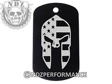 Dog Tag Military ID K9 Customized Laser Engraved BLK Spartan Helmet Flag