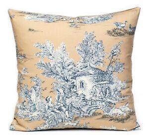 "New Toile de Jouy Fabric (La Grande Vie Rustique) Cushion Cover16"" Golden Beige"