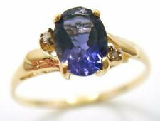 10KT YELLOW GOLD OVAL IOLITE & DIAMOND RING SIZE 7  R1474