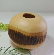 Beautiful Mango Wood Vase Home Decor, Nice Coloration of Wood Tones Dia 5 inch