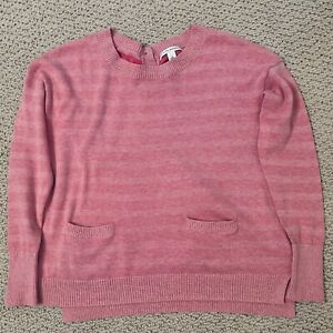 Banana Republic Sweater Women's Small Pink Striped Front Pockets Back Buttons