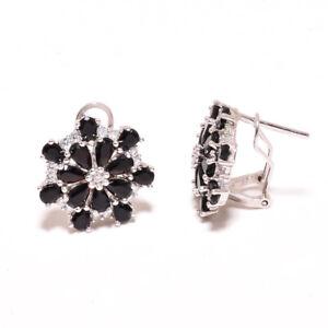 "Brazilian Black Onyx & White Topaz 925 Sterling Silver Earring 0.75"" T2794"