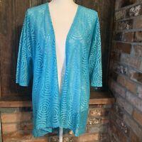 Lularoe Lindsay Cardigan Kimono M turquoise Crochet Knit Open Front Waterfall