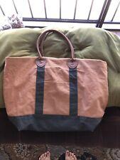 Vintage LL BEAN Tote Bag Tan Green  22 x 16 Canvas Large Purse Leather Handles