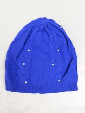 Laundry Shelli Segal Lurex Cable Knit Studded Skullcap Beanie Hat Blue #6396