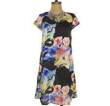 Glamorous Print Shift Tunic Dress Abstract Floral Silky Zip Back S Small B22