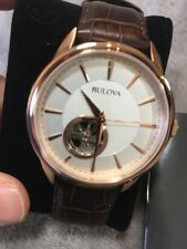 Bulova Mens Rose Gold Stainless Steel Automatic White Brown Leather Watch 97A133