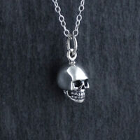 Tiny 3D Skull Charm Necklace 925 Sterling Silver Halloween Goth Skeletal Head