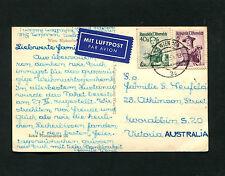Österreich - Selt. Luftpostkarte nach Australien 1954   (#1310)
