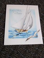 Vintage Birthday Card Husband Sail Boat Unused