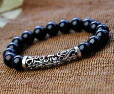 Pray Hot Unisex obsidian beads Tibet silver carving bracelet Wrist Healing mala