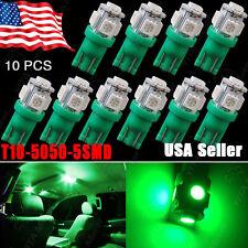 10Pcs Vivid Green T10 5050 5-SMD Wedge Led Map Interior Instrument Light Bulbs