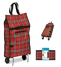 BRAND NEW Rolling Fabric Fold up bag cart in Plaid #CRT-02224 Holds up to 40 Lbs